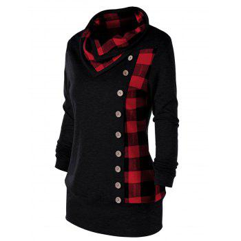 Plus Size Plaid Cowl Neck Tunic Sweatshirt - RED/BLACK RED/BLACK
