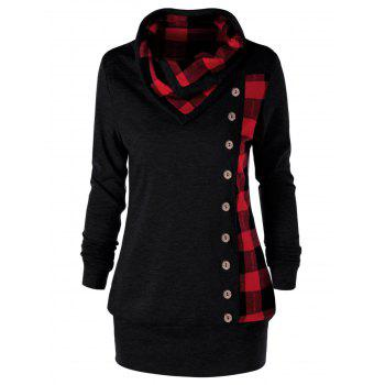 Plus Size Plaid Cowl Neck Tunic Sweatshirt - RED WITH BLACK RED/BLACK