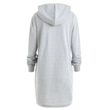 Plus Size Color Block Drawstring Longline Hoodie - GRAY 2XL