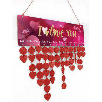 Thicken Wooden DIY Valentine's Day Letter Printed Calendar Board - RED