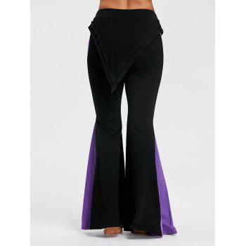 Two Tone High Rise Bell Bottom Pants - BLACK M