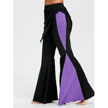 Color Block High Waisted Bell Bottom Pants - BLACK BLACK