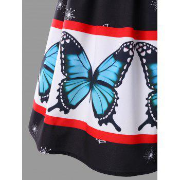 Plus Size Butterfly Print Ball Gown Dress - RED/WHITE 3XL