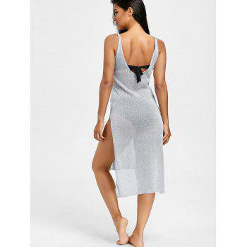 Slit Knitted Cami Cover Up Dress - SILVER ONE SIZE
