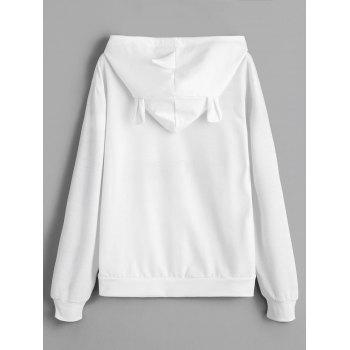 Drawstring Unicorn Letter Graphic Hoodie - WHITE M