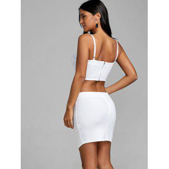 Lace Up Crop Top and Bodycon Skirt - WHITE M