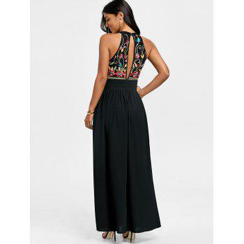 Sleeveless Embroidery Evening Dress - BLACK L