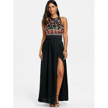 Sleeveless Embroidery Evening Dress - BLACK XL