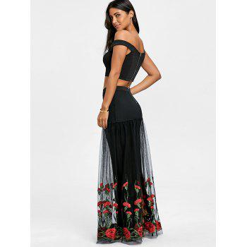 Crop Top with Tiered Tulle Flower Skirt - BLACK/RED M