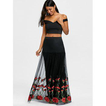 Crop Top with Tiered Tulle Flower Skirt - BLACK/RED XL