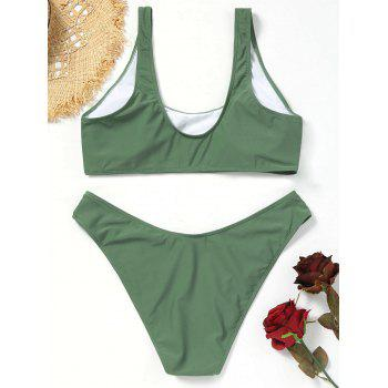 Scoop High Cut Plus Size Bikini Set - ARMY GREEN XL