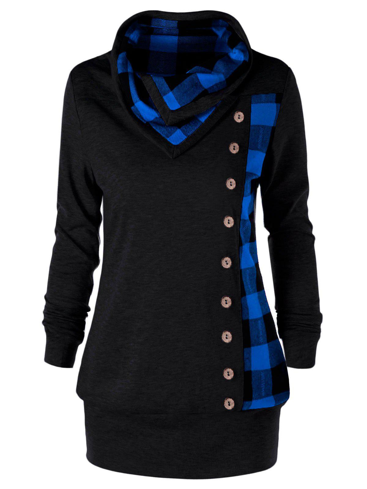 Plus Size Plaid Cowl Neck Tunic Sweatshirt - BLUE/BLACK 3XL