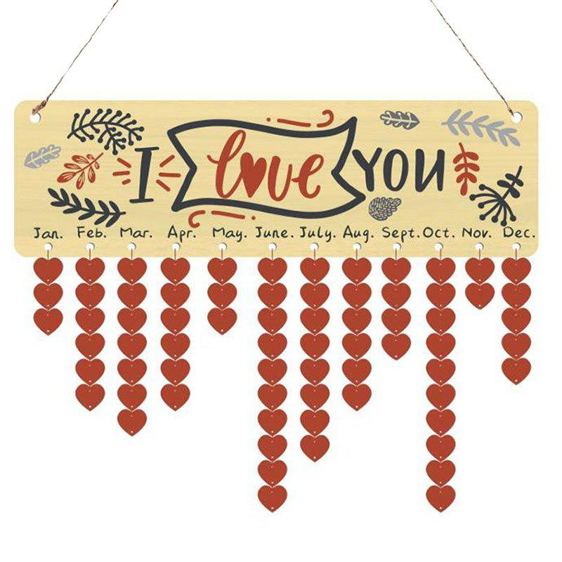 I Love You Heart Shape Hanging Wooden Calendar Decor - COLORFUL