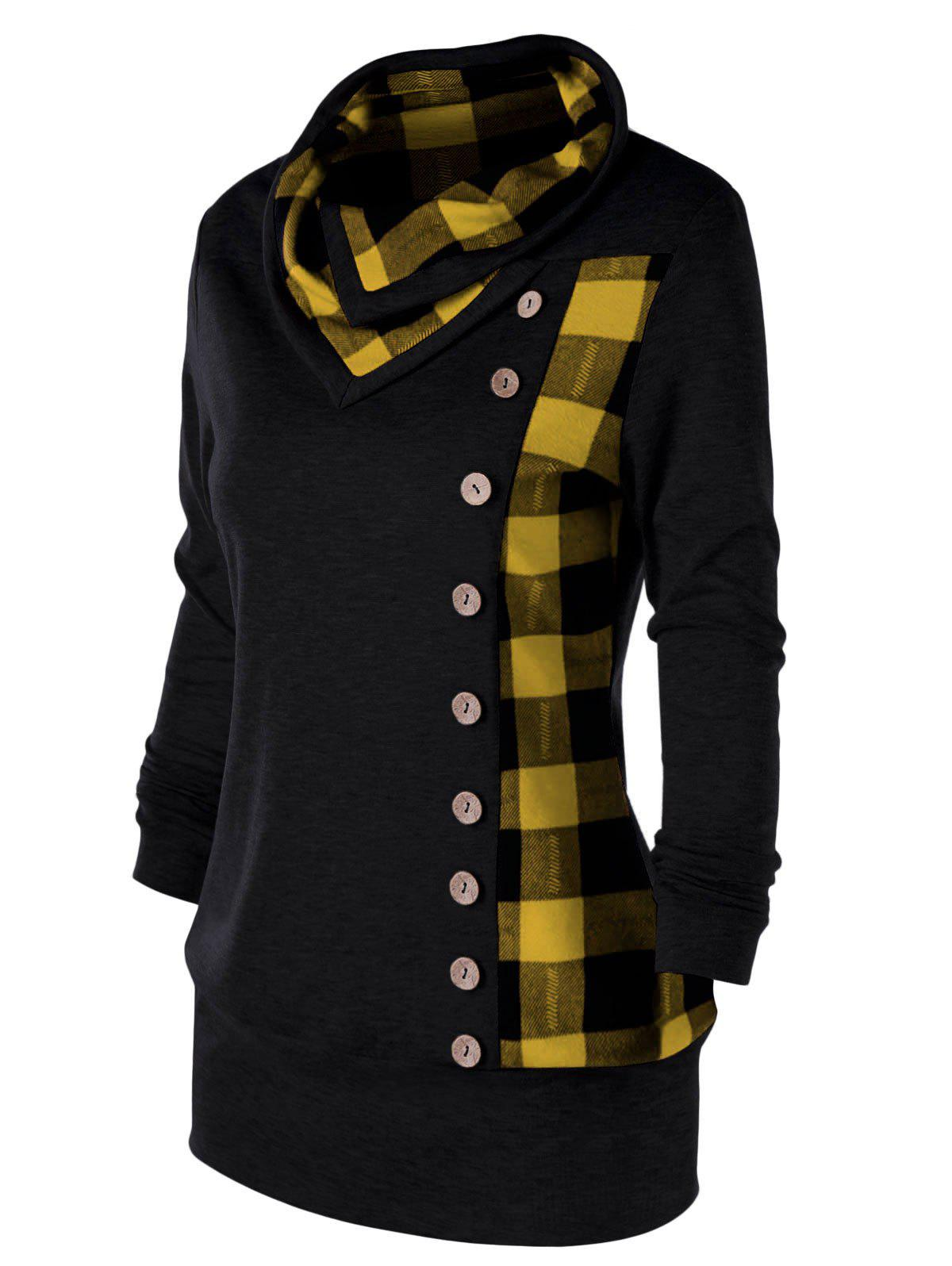 Plus Size Plaid Cowl Neck Tunic Sweatshirt - YELLOW/BLACK 4XL