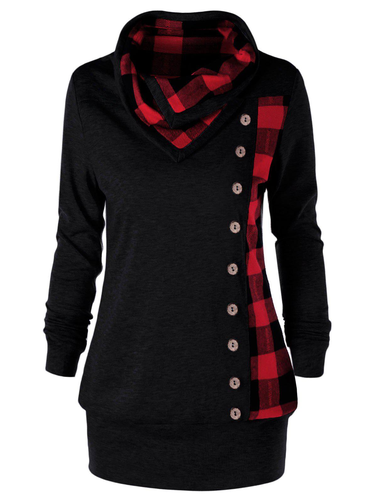 Plus Size Plaid Cowl Neck Tunic Sweatshirt - RED/BLACK XL