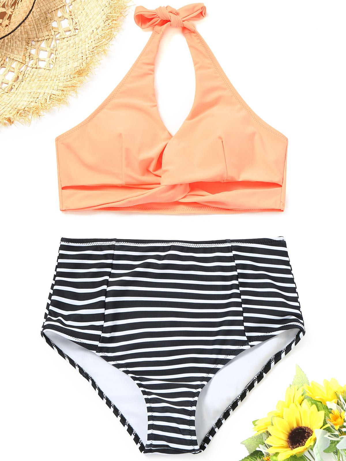 High Waisted Striped Twist Bikini - ORANGEPINK M