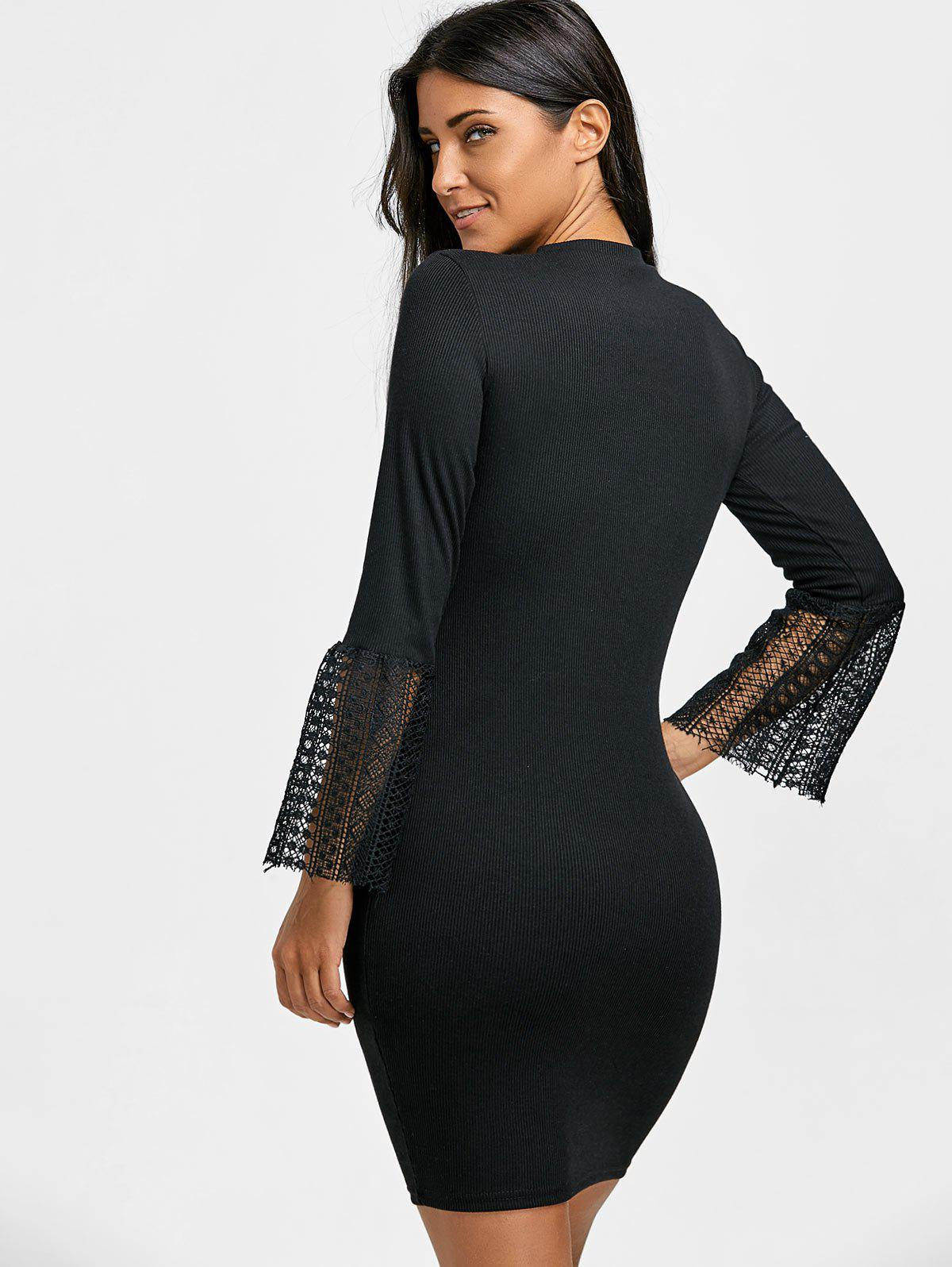 Lace Insert Knitted Bodycon Dress - BLACK S