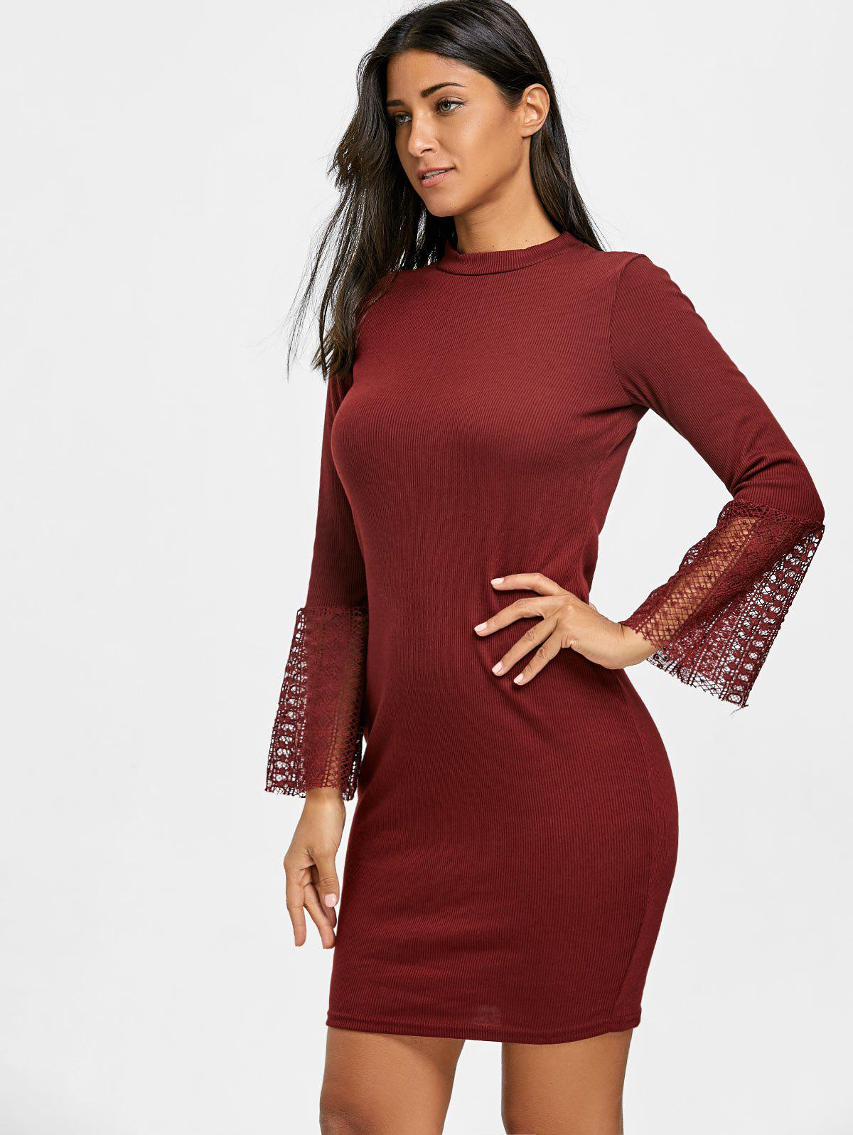 Lace Insert Knitted Bodycon Dress - WINE RED L