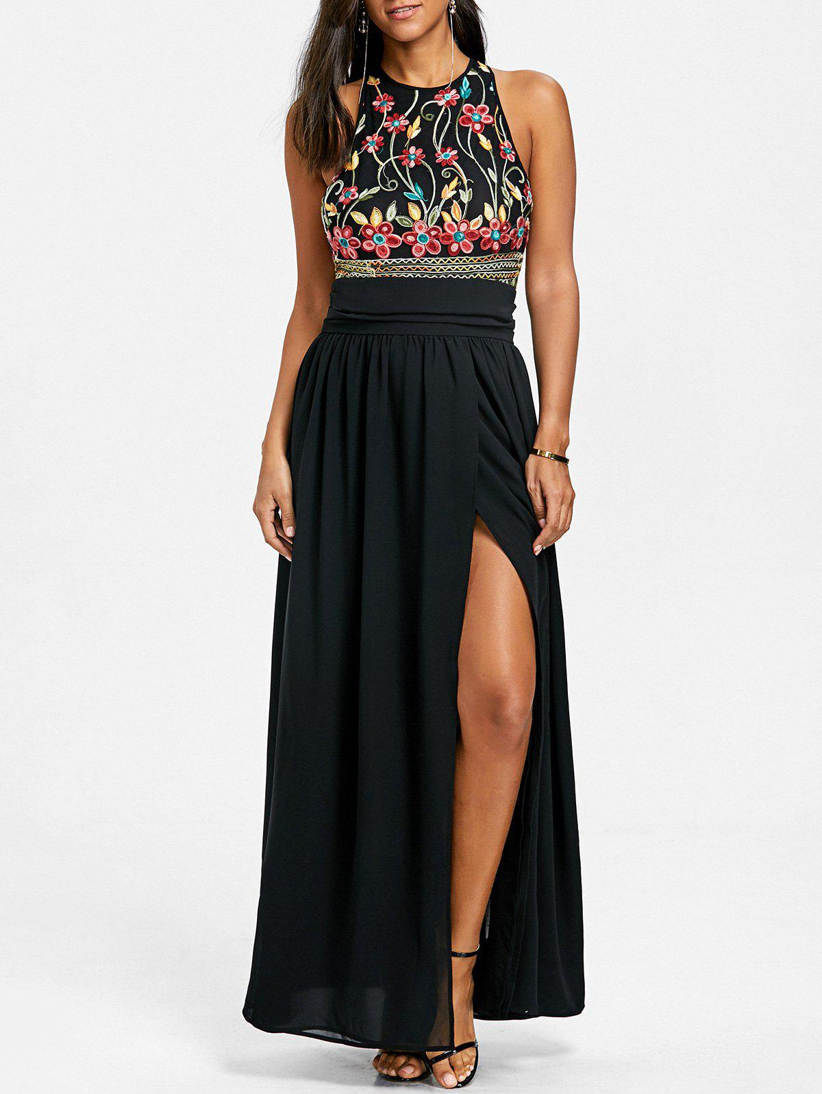Sleeveless Embroidery Evening Dress - BLACK M