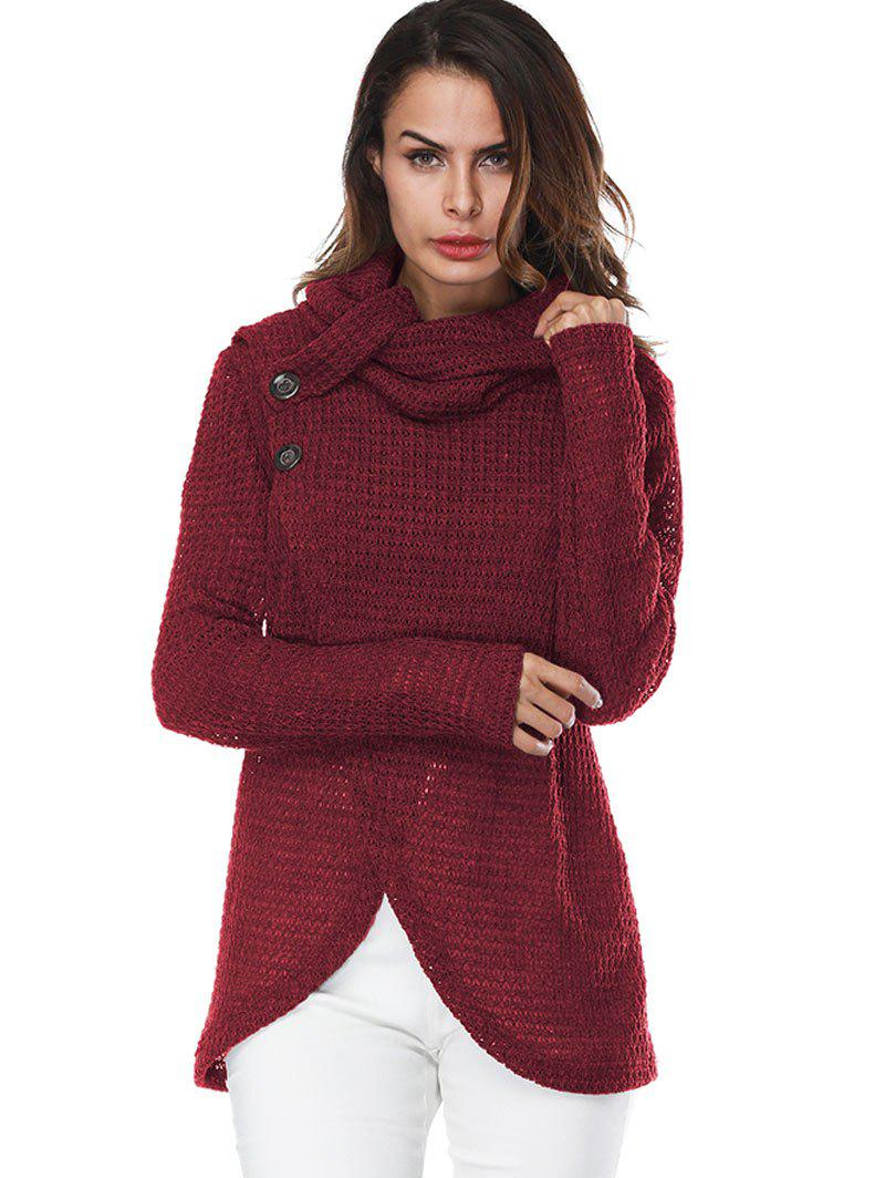 Overlap Turtleneck Sweater - WINE RED XL