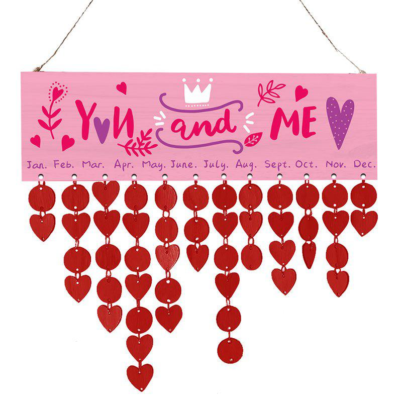 Valentines Day Wooden Calendar Hanging Reminder Board - BRIGHT RED