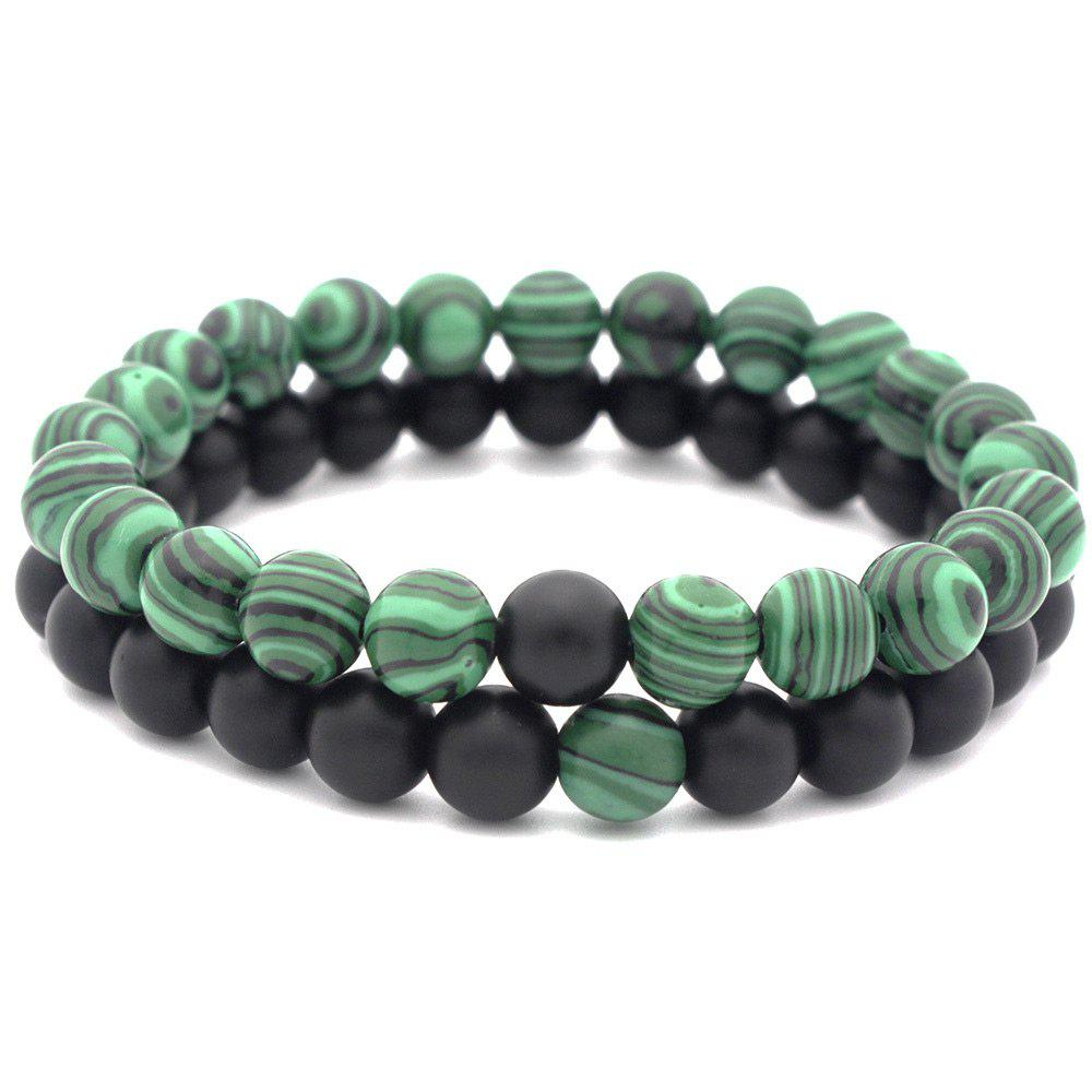 Valentine's Day Couple Beads Bracelet - BLACK/GREEN