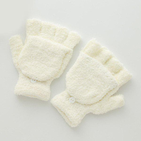 Cashmere Hooded Fingerless Winter Gloves - OFF WHITE