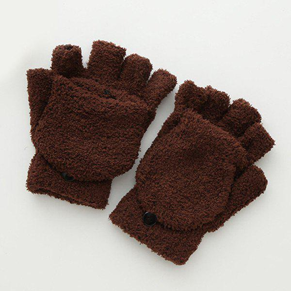 Cashmere Hooded Fingerless Winter Gloves - BROWN