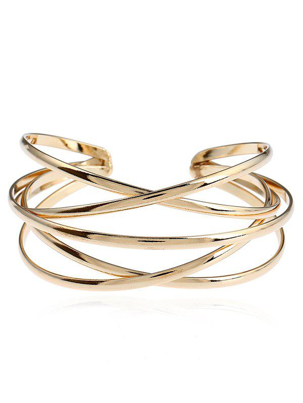 Simple Alloy Multilayered Geometric Cuff Bracelet -