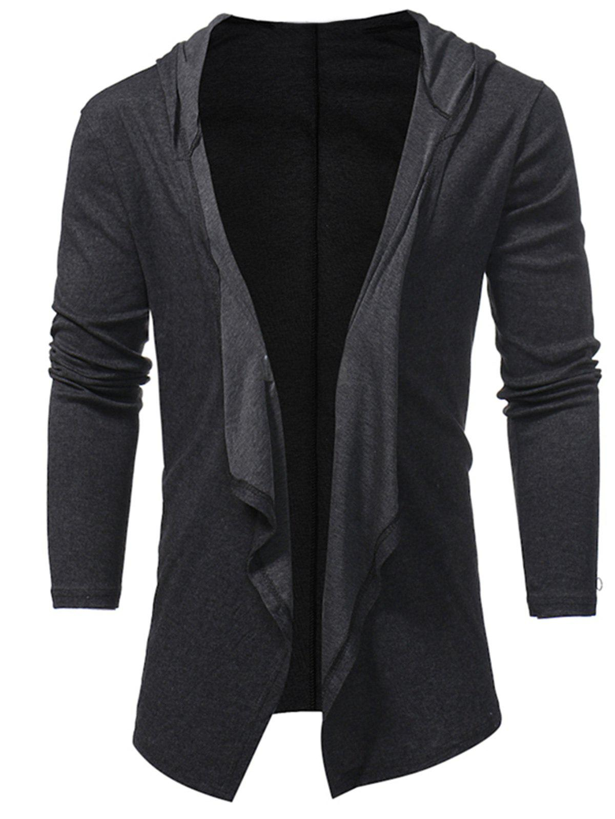 Hooded Drape Open Front Cardigan open front back lace up hooded cardigan