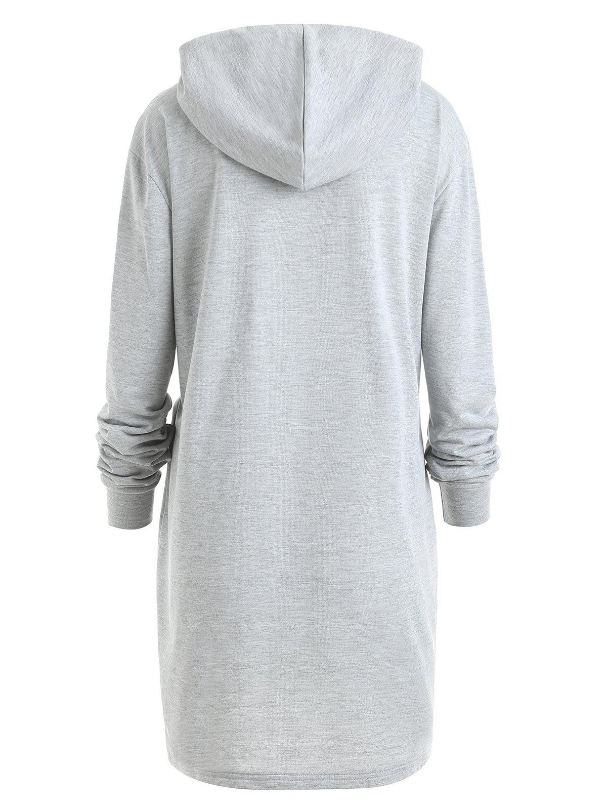 Plus Size Color Block Drawstring Longline Hoodie - GRAY 4XL