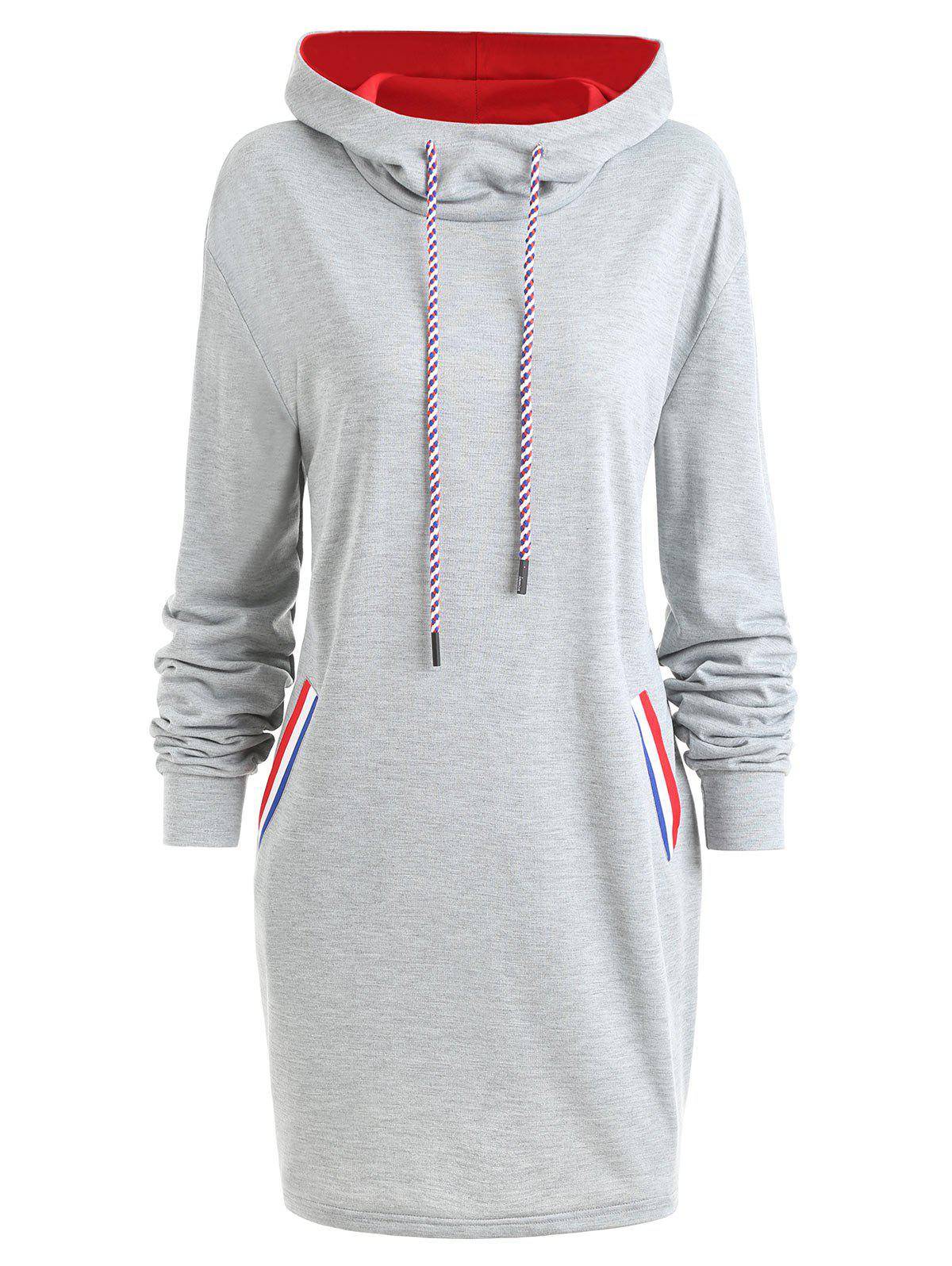 Plus Size Color Block Drawstring Longline Hoodie - GRAY 3XL