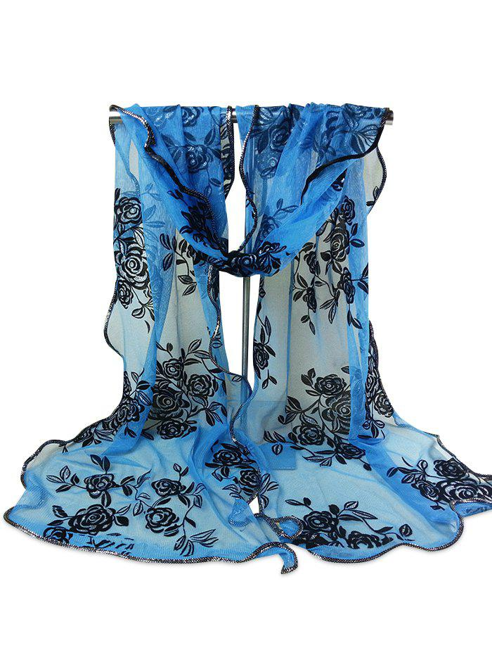 Vintage Rose Pattern Golden Edge Embellished Sheer Scarf - AZURE