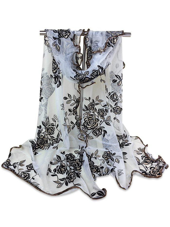 Vintage Rose Pattern Golden Edge Embellished Sheer Scarf - WHITE