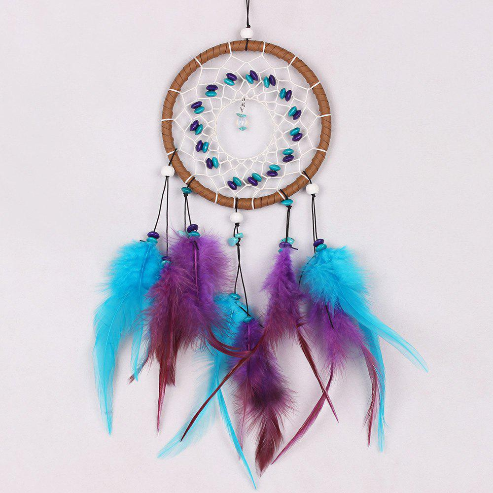 Handmade Colorful Feathers Beaded Dreamcatcher For Decoration - COLORMIX