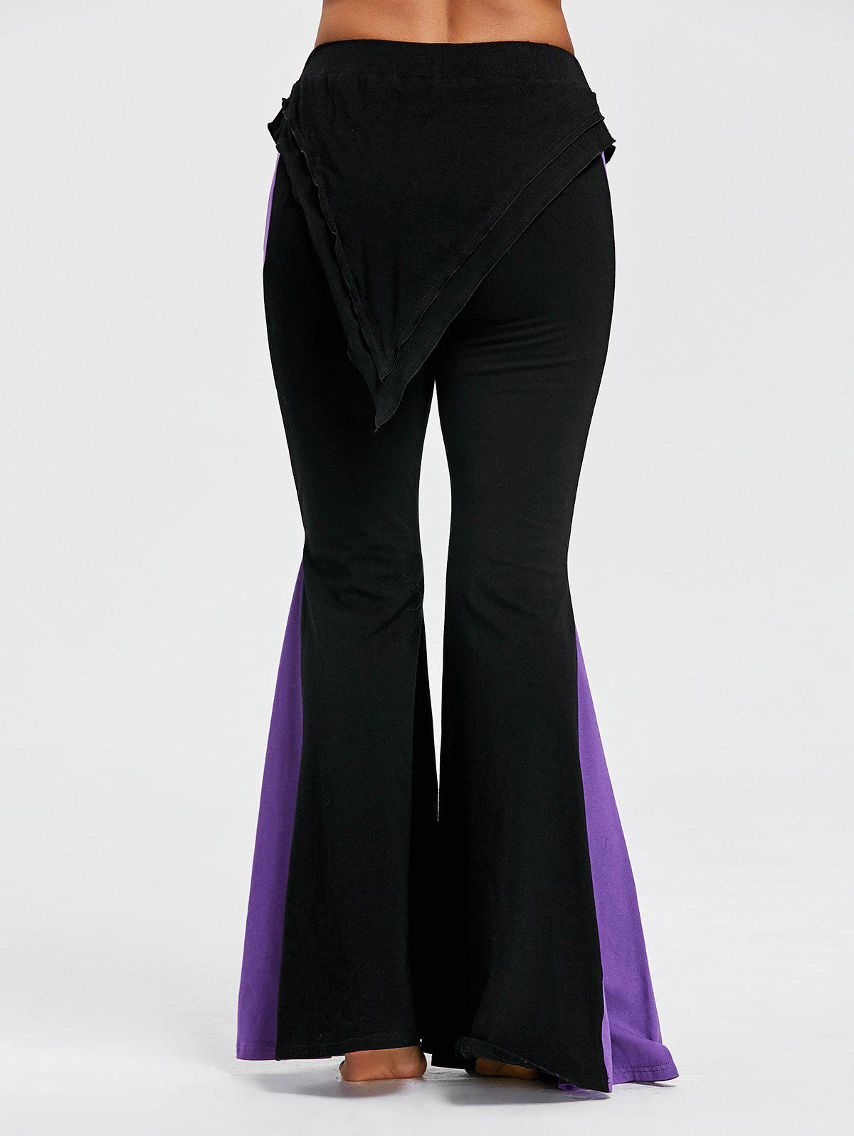 Color Block High Waisted Bell Bottom Pants - BLACK L