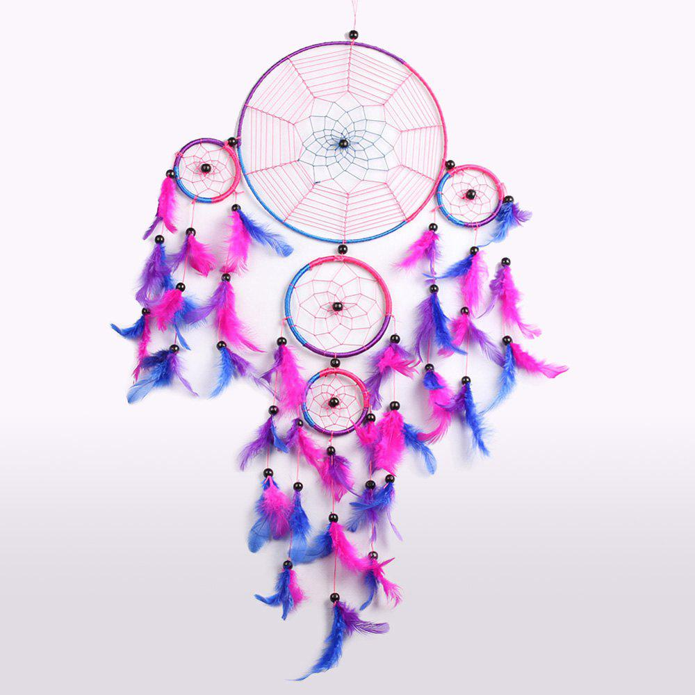 Feather Fringed Handmade Dream Catcher Wall Hanging - ROSE MADDER