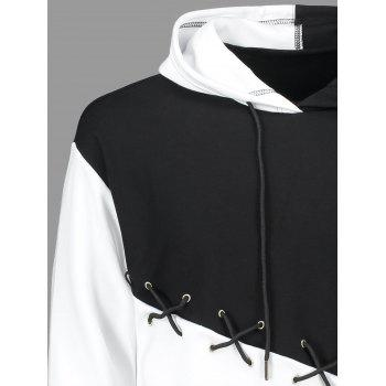 Lace Up Criss Cross Color Block Hoodie - WHITE/BLACK M