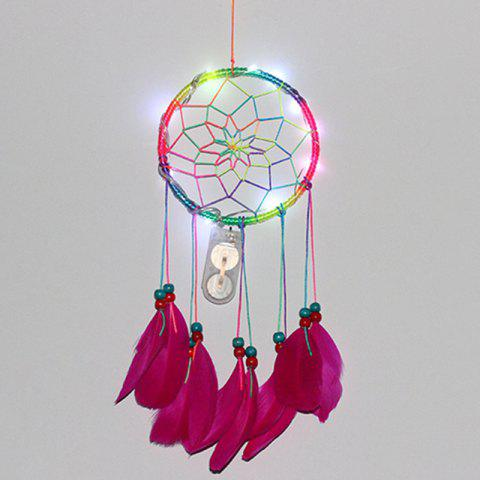 Christmas Light Rainbow Feather Indian Style Dreamcatcher - COLORFUL