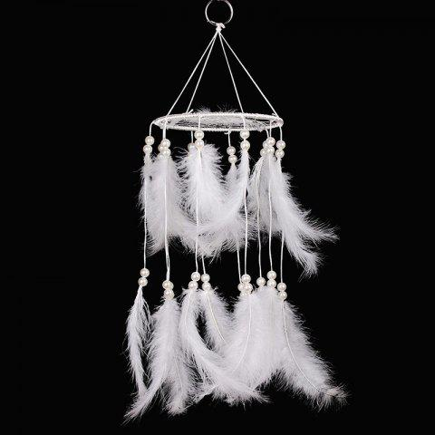 Pastel Chandelier Beaded Feather Mobile Dreamcatcher - WHITE