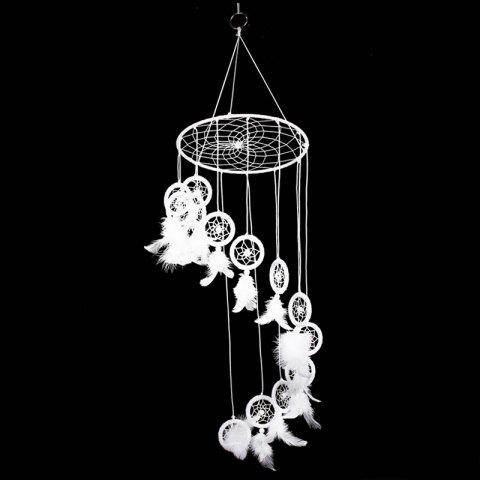 Creative Hanging Ornament S Shape Feather Dreamcatcher - WHITE