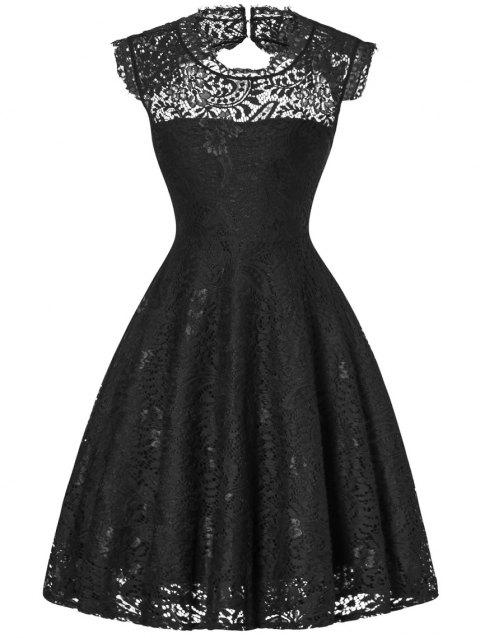 Lace Open Back Flare Cocktail Dress - BLACK M