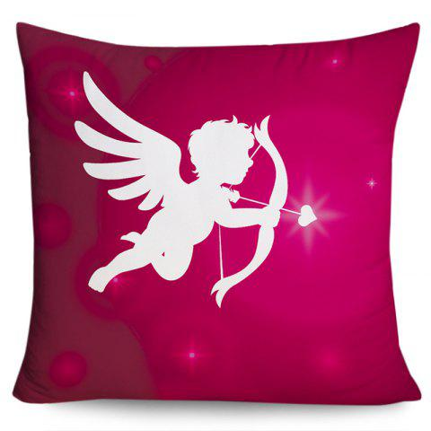 Valentine's Day Cupid Print Decorative Pillowcase - PURPLISH RED W18 INCH * L18 INCH