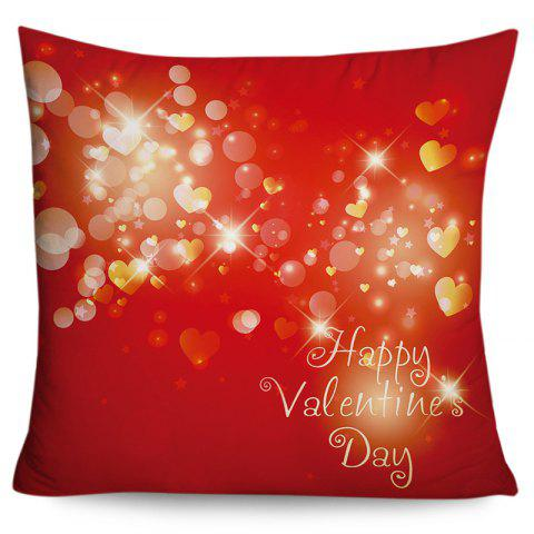 Valentine's Day Love Hearts Pattern Square Pillowcase - RED W18 INCH * L18 INCH