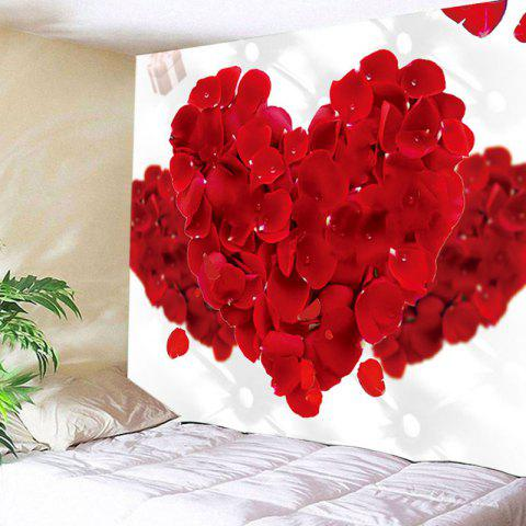 Valentine's Day Rose Petals Hearts Print Wall Hanging Tapestry - RED W59 INCH * L51 INCH