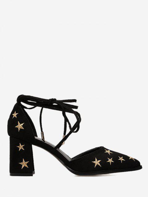 Ankle Strap Stars Embroidery Mid Heel Pumps - BLACK 38