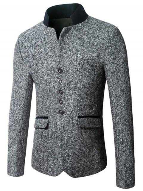 Single Breasted Woolen Blend Blazer - DEEP GRAY 3XL