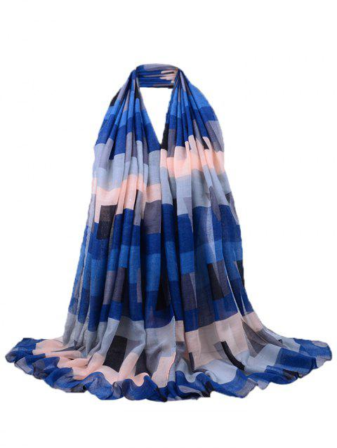 Soft Block Twill Pattern Decorated Long Yarn Scarf - DEEP BLUE