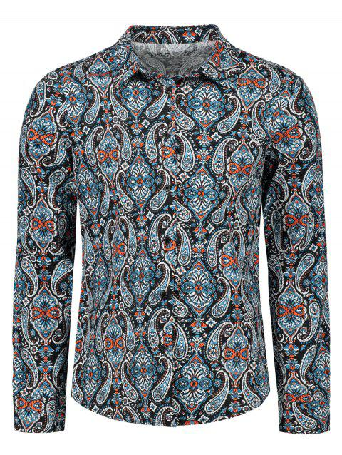 Ethnic Paisley Printed Long Sleeve Shirt - COLORMIX 2XL