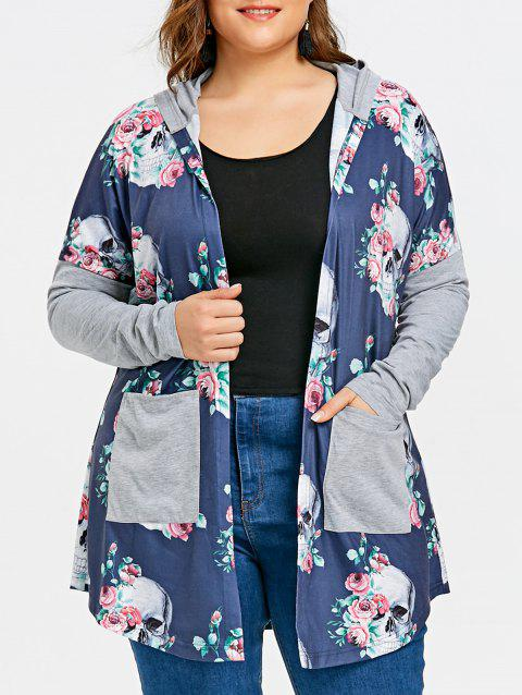 Plus Size Skull Hooded Cardigan - BLUE 2XL